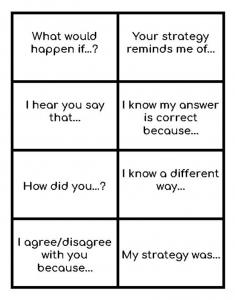a chart guding students towards peer feedback on mathematics